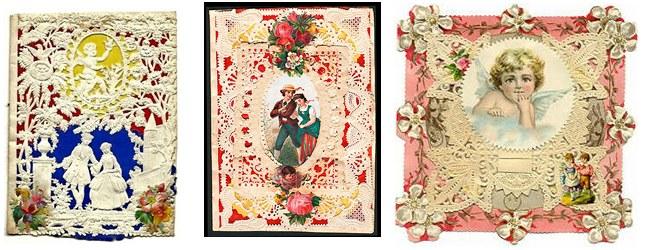 Görselde görmüş olduklarınız 18. yüzyılda yeniden canlanan bol süslü, dantelli ilk sevgili kartlarından.